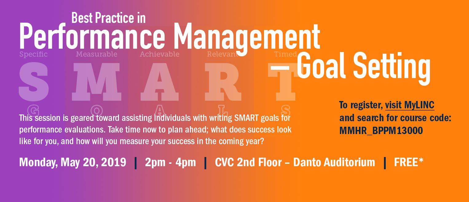 Next Performance Management Goal Setting Session is May 20, 2019